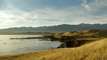 The mountain backdrop from the coast of Kaikoura New Zealand