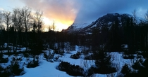 The mountains are cutting of the sun Skogshorn in Hemsedal Norway