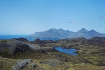 The mountains of Rum from An Sgurr Isle of Eigg Scotland  OC