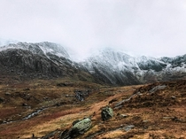 The mountains stream Cwm Idwal Glyderau Mountain Range Snowdonia Wales