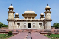 The Mughal white marble mausoleum of Itimd-ud-Daulah in the city of Agra India It is often regarded as a draft of the Taj Mahal