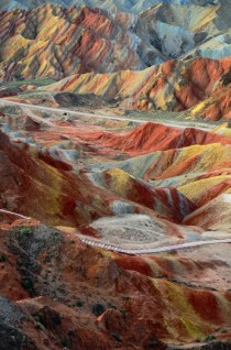 The multi-coloured rock formations of Zhangye Danxia Landform Park