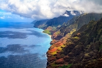 The N Pali Coast Kauai from the air