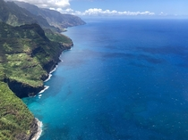 The Na Pali Coast and its reefs Kauai Hawaii