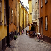 The narrow streets of Stockholm Sweden