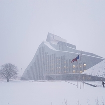The National Library of Latvia in a snowstorm