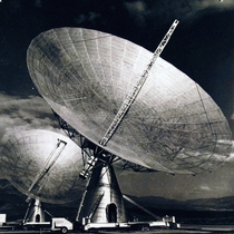 The Navys two -foot radio telescope parabola antennas mounted on a -foot long railroad track running east-west in