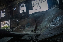 The nd floor in this automotive plant collapsed down to the st floor Now its used as a BMX quarterpipe Detroit Mi