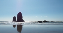 The Needles next to Haystack Rock at Cannon Beach Oregon