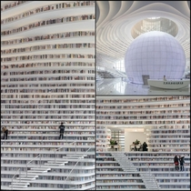 the new library in the Chinese city of Tianjin Terraced staircases circle around the central hall with a large striking sphere in which an auditorium is located which simultaneously serve as a bookshelf stairs and benches It is one large contiguous booksh