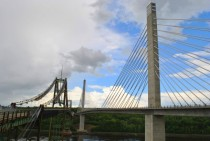 The new Penobscot Narrows Bridge with the old Waldo-Hancock Bridge on the left near Bucksport Maine
