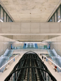 The newly opened Mairie de Saint Ouen metro station in Paris as part of the Grand Paris Express project