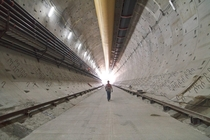 The newly-poured concrete floor inside the SR  Tunnel in Seattle where boring is currently on hold