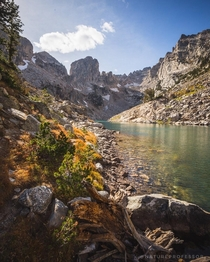 The nice thing about uncommon hikes is you often have scenes like this all to yourself Lake of the Crags Grand Teton National Park Wyoming