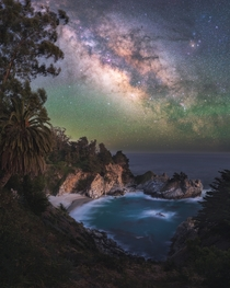 The night sky over one of the most beautiful places Ive had a chance to visit - McWay Falls on the Big Sur coast in California