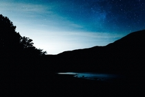 The nighty sky reflected in Scotlands Loch Lubnaig