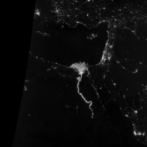 The Nile glows bright at night in this sparkling image from the Suomi satellite