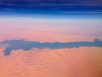 The Nile River penetrates the Sahara Desert in southern Egypt taken from a plane