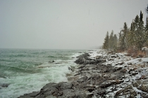 The North Shore of Lake Superior Minnesota this morning