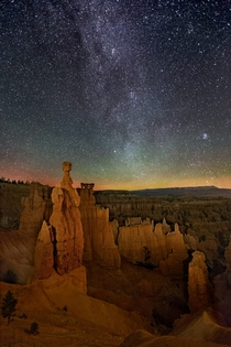 The Northern Arm of the Milky Way rises behind Thors Hammer in Bryce Canyon National Park Utah  Pic by Wayne Pinkston