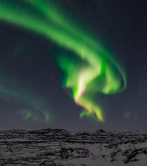 The northern light that looks like a spitting dragon  - seen in Iceland   Insta glacionaut