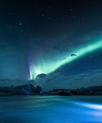 The Northern Lights over an ice lagoon in Iceland
