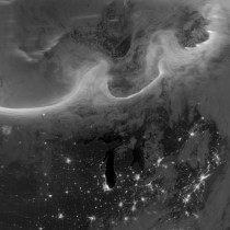 The October  aurora over North America as seen from space