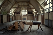 The old gym in an abandoned school
