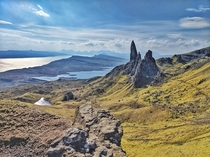 The Old Man of Storr and his family commanding the landscape on the Isle of Skye Scotland