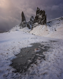 The Old Man of Storr during a freezing cold sunrise last winter