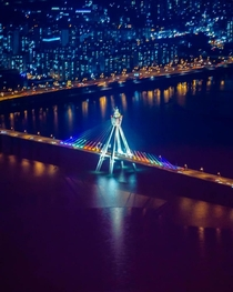 The Olympic Bridge at night in Seoul South Korea