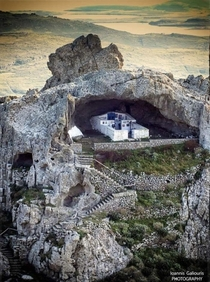 The only church in the world without a roof - Panagia Kakaviotissa - built into the cave of mountain Kakavos on Lemnos Island in Greece The first chapel here was constructed in