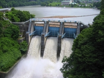 The open spillways of Takat Dam in Nagano Japan