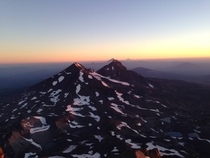 The Oregon Cascades from the summit of South Sister just after sunrise