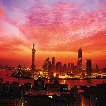 The Oriental Pearl TV Tower in Shanghai at dusk