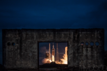 The Orion test flight through remains of the abandoned Apollo test pad x