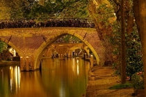 The Oudegracht canal by night in beautiful city of Utrecht