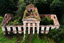 The overgrown ruins of a mansion in Lithuania  Photographed by SkyCam