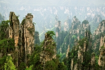 The overgrown towers of Zhangjiajie in Hunan China  Photographed by Antonio Rodrguez-