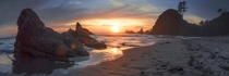 The Pacific Northwest has the best sunsets Shi Shi Beach Washington Coast WA