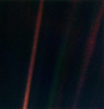 The Pale Blue Dot Taken by Voyager  in  at a distance of  billion miles