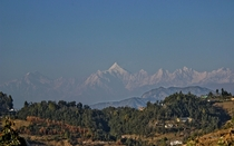 The Panchachuli peaks overlooking the town of Pithoragarh in Uttarakhand India