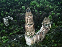 The Paricutin cathedral which was engulfed in lava during a volcanic eruption in the s x