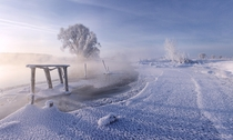 The partially frozen Svislach River Belarus