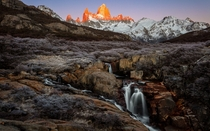 The Peaks of Cerro Fitz Roy Catch Fire at Sunrise Over Frozen Patagonia El Cheltan Argentina   x  px