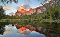 The peaks of reflection Yosemite National Park California