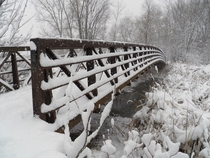 The pedestrian bridge behind my work during a recent snowstorm Columbia Heights MN