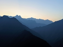 The Peruvian Andes at sunrise from the Inca Trail