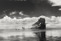 The Peter Iredale ran aground in September  on the Oregon coast near Astoria Its bow and masts are still visible Its captains final toast to his ship was May God bless you and may your bones bleach in the sands