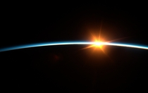 The photo was made from aboard the International space station Sunset